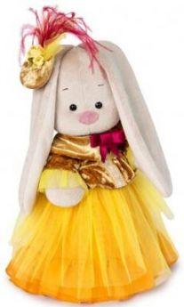 """Мягкая игрушка зайка BUDI BASA """"Зайка Ми-барышня в янтарно-золотом"""" искусственный мех ткань 25 см"""