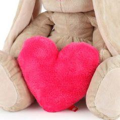 Мягкая игрушка зайка BUDI BASA Зайка Ми Большой с сердцем искусственный мех 34 см