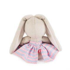 Мягкая игрушка зайка BUDI BASA Зайка Ми в платье в полоску искусственный мех 15 см