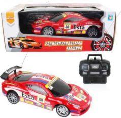 1toy Спортавто Машина на радиоуправлении, масштаб 1:24, 27 МГц, 20 см, 4 канала, на батарейках, свет, красная