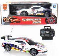 1toy Спортавто Машина на радиоуправлении, масштаб 1:24, 27 МГц, 20 см, 4 канала, на батарейках, свет, белая
