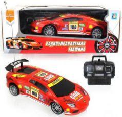 1toy Спортавто Машина на радиоуправлении, масштаб 1:24, 27 МГц, 20 см, 4 канала, на батарейках, свет, оранжевая