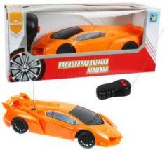 1toy Спортавто Машина на радиоуправлении, масштаб 1:26, 27 МГц, 17 см, на батарейках, 2 канала, оранжевая
