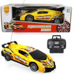 1toy Спортавто Машина на радиоуправлении, масштаб 1:24, 27 МГц, 20 см, 4 канала, на батарейках, свет, желтая