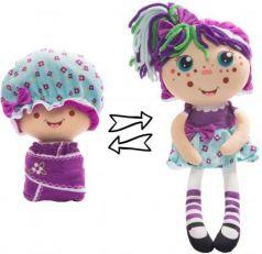 """Мягкая игрушка кукла 1toy """"Девчушка-Вывернушка. Варюшка"""" текстиль голубой фиолетовый"""
