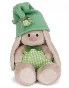 Мягкая игрушка зайка BUDI BASA Зайка Ми - гномик в зеленом искусственный мех зеленый 18 см