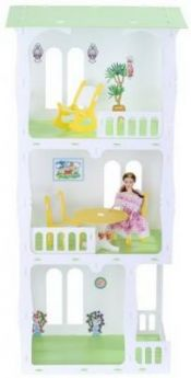 Домик для кукол Дом Жасмин бело-желтый с мебелью