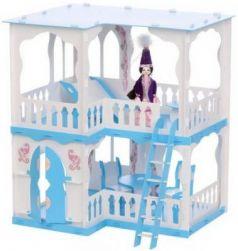 Домик для кукол Дом Алсу бело-голубой с мебелью