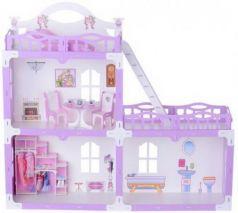 Домик для кукол Анна бело-сиреневый с мебелью