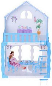 Домик для кукол Дом Mарина бело-голубой с мебелью