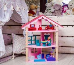 Кукольный домик Роза Хутор трехэтажный, для кукол до 12 см (14 предметов мебели)