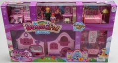 Домик для кукол Shantou с фигурками, мебелью, машиной (свет, звук) B1743414