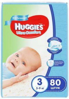 HUGGIES Подгузники Ultra Comfort Размер 3 5-9кг 80шт для мальчиков