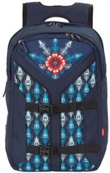 Школьный рюкзак с креплением для скейта 4YOU Boomerang Винтажный павлин 30 л синий рисунок