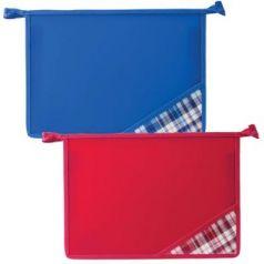 Папка для тетрадей BRAUBERG, А4, пластик, молния сверху, цветной уголок, ассорти, клетка, 223952