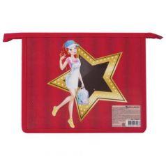 """Папка для тетрадей BRAUBERG, А5, пластик, цветная печать, молния сверху, для девочек, """"Звезда"""", 226931"""