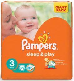 Подгузники КОМПЛЕКТ 100 шт. PAMPERS (Памперс) Sleep&Play, размер 3 (4-9 кг)