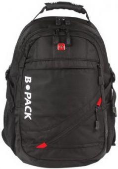 """Рюкзак B-PACK """"S-01"""" (БИ-ПАК) универсальный, с отделением для ноутбука, влагостойкий, черный, 47х32х20 см, 226947"""