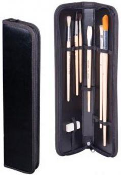 Пенал-тубус для кистей на молнии, размер 380х90 мм, кожзам, черный, ФК-3