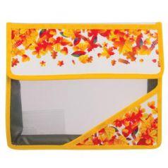 """Папка для тетрадей А5, пластиковая на липучке, с рисунком на уголке, """"Осень"""", 226554"""