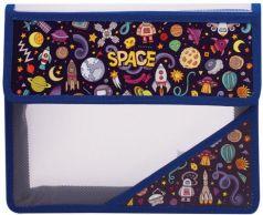 """Папка для тетрадей, А5, пластиковая на липучке, с рисунком на уголке, """"Космос"""", 226557"""