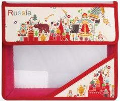 """Папка для тетрадей, А5, пластиковая на липучке, с рисунком на уголке, """"Россия"""", 226561"""