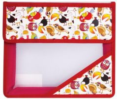 """Папка для тетрадей, А5, пластиковая на липучке, с рисунком на уголке, """"Экзотические птицы"""", 226562"""
