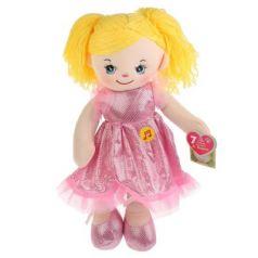 Мягкая игрушка музыкальная кукла МУЛЬТИ-ПУЛЬТИ Куколка в нарядном блестящем платье пластик текстиль металл 40 см