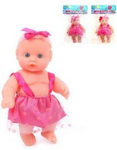 Пупс 17 см в розовом платьице, а ассорт., пакет
