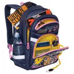 Школьный рюкзак с анатомической спинкой GRIZZLY Арт Коты 13,5 л синий рисунок