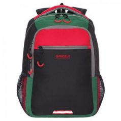Рюкзак GRIZZLY универсальный, черный/красный, 31х42х22 см, RU-922-3/1
