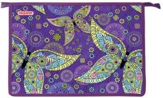 Папка для тетрадей ПИФАГОР А4, картон, молния сверху, Бабочки, 228139