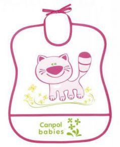 Нагрудник Canpol пластиковый мягкий розовый 2/919
