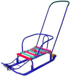 Санки R-Toys Считалочка Семерка с большими колесами до 35 кг синий металл Т5ЮК