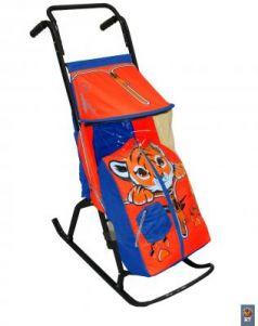 Санки-коляска R-Toys Снегурочка 2 Р Тигренок до 50 кг синий красный сталь