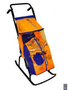 Санки-коляска Снегурочка 2-Р Медвежонок (синий-оранжевый)