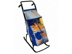 Санки-коляска RT Снегурочка 2-Р Медвежонок до 50 кг синий серый сталь
