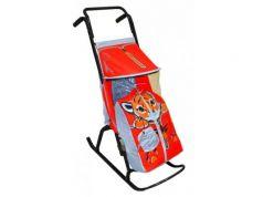 Санки-коляска RT Снегурочка 2-Р Тигренок до 50 кг серый красный сталь