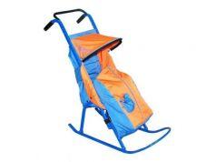 Санки-коляска — Снегурочка 2-Р1Снежинки до 50 кг голубой оранжевый сталь