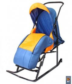 Санки-коляска RT Шустрик-Имго-6 на колесиках с горизонтальным положением спинки до 45 кг синий оранжевый сталь