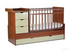 Кроватка-трансформер СКВ-5 4 ящика (орех-бежевый фасад жираф/540037-9)