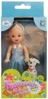 Кукла 1Toy Красотка мини в платье и туфельках с собачкой 10 см Т55624 в ассортименте