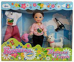 """Набор """"Красотка мини"""": кукла 10 см в костюме, с сумочкой, феном, с кошечкой Т55626"""