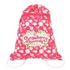 Мешок ддя обуви STRAWBERRY SHORTCAKE, разм. 34х43 см, с карманом на молнии,цветочный принт, розовый SW-ASS4305/3