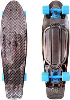 "Скейтборд Y-SCOO Big Fishskateboard metallic 27"" RT винил 68,6х19 с сумкой BLACK BRONZAT/blue 402H-Bb"