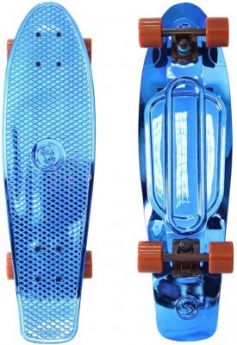"Скейтборд Y-SCOO Big Fishskateboard metallic 27"" RT винил 68,6х19 с сумкой BLUE/brown 402H-Bl"
