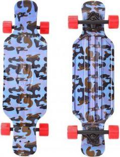 "Скейтборд Y-SCOO Longboard Shark TIR 31"" RT пластик 79х22 с сумкой Blue Army BLUE/red 408-Ba"