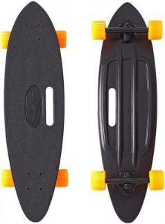 "Скейтборд Y-SCOO Longboard Shark с ручкой 31"" пластик 79х22 с сумкой BLACK/orange 409-B"