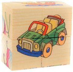 """Кубики Русские деревянные игрушки """"Транспорт"""" от 1 года 4 шт Д483а"""