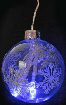 Светильник декоративный ШАР 70мм со снежинками, с голубыми LED лампами, на батарейках